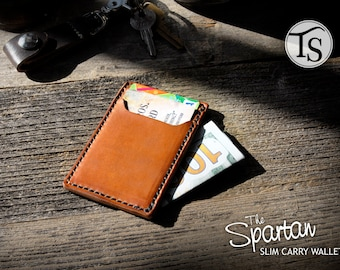 The Spartan - Slim, Minimalist Leather Wallet - Color: Whiskey