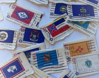 Set of 23 Cancelled Postage Stamps, 13 cent Bicentennial State Flags, Craft Supply, Vintage Flag Stamps, US State Flags, Collections