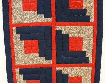 Doll Quilt - Red and Blue Log Cabin