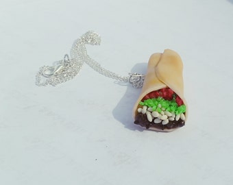 Burrito Necklace/Charm- Polymer Clay Food Jewelry