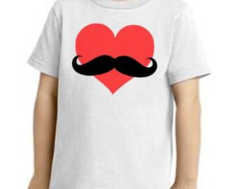 Heart mustache shirt boys mustache Valentines Day mustache shirt Boys Valentines shirt Valentines Party shirt