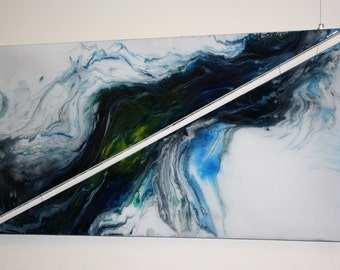 """Abstract Resin Art - Triangle """"Comet"""""""