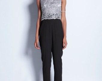 Sliver Grey Embellished Lace Floating Bodice Jumpsuit