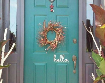 Hello Goodbye or Welcome sign door decal. Front door hello greeting or goodbye. Many colors & styles. Door welcome sign. Approx 9x4.5 inches