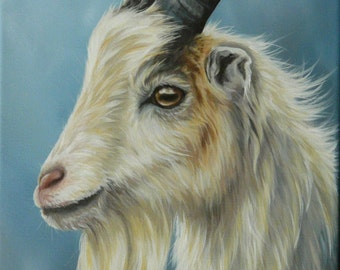 Original Canvas by Alison Armstrong - Farm Animal Painting - Goat