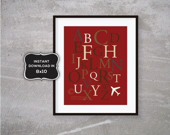 8x10 Alphabet Graphic Art in reds, Browns and blue - INSTANT DOWNLOAD