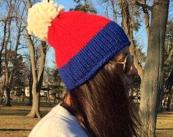 Buffalo Bills Chunky Knitted Pom-Pom Hat // THE ABBEY
