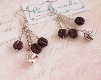 Coffee beans earrings with chains Coffee beans earrings with cup and muffin Coffee lovers Hypoallergenic earrings