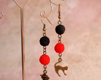Black and red earrings Witch and сat earrings Witches and cats Magic Halloween jewelry