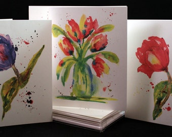 Tulip Original Watercolor PRINT Note Card Set, Watercolor Cards, Spring Flower  Cards, Watercolor Tulip Cards, Tulip Cards
