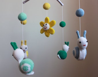 Snail Crochet Mobile,Baby Mobile, Nursery Mobile,Colorful Snails, Nursery Decor, Baby Gift,