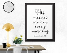 Printable Wall Art, His Mercies Are New Every Morning, Printable Decor, Typography Art,nArt Print, Wall Art