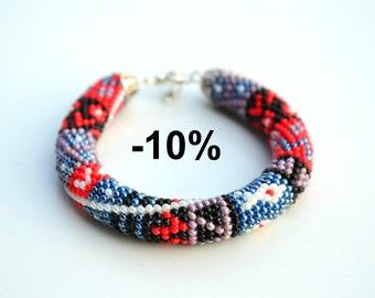 10% OFF Red grey purple patchwork print beaded crochet rope bracelet jewelry, trend bracelet jewelry