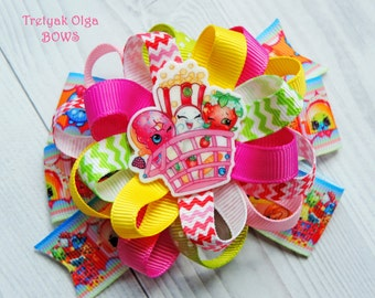 Shopkins Hair Bows Loopy flower Shopkins Party Favor Shopkins Pigtails Shopkins Hair Clip Shopkins loopy bow Shopkins Birthday Colorful bow