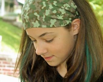 Camo Headband Girls Camouflage Headwrap Green Head Wrap Fashion Hair Band Girls Headscarf Camo Head Scarf Camouflage Headscarves (#1015)