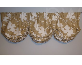 "Tan White Contemporary Floral Gathered Balloon Valance Big Volume 48"" to 56"" Wide Natural"