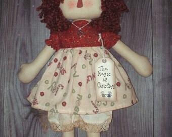 "Handmade ""The Magic of Christmas"" Country Prim Rag Doll"