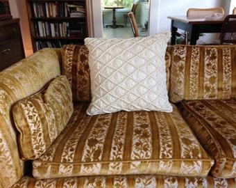 White Macramé Styled Throw Pillow