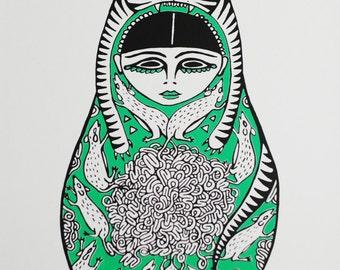 Cat Doll Print A3 Russian Doll / Matryoshka Limited Edition Silkscreen Print in Green & Black