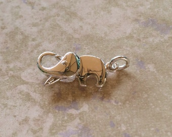 Elephant Lobster Clasp ~ Sterling Silver Jewelry / Bracelet Clasp / Closure with Open Jump Ring (20mm x 9mm)