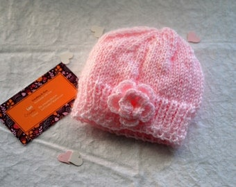 Handmade Newborn Hat, Newborn Girl Hat, Knit Hat