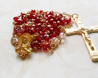 Sacred Heart Rosary, Rosaries, Handmade Catholic Rosary, Confirmation Gift, Catholic, Prayer Beads, Red Rosary, Crucifix