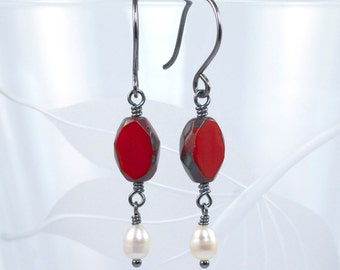 Red Czech Glass with Pearl Dangle Earrings