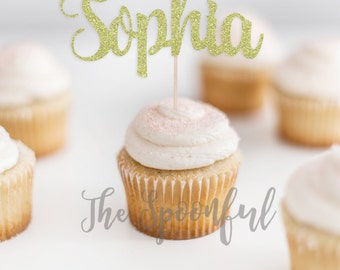 Personalized Glitter Name Cupcake Topper/Gliter Name Cupcake Topper/Name Cupcake Topper/Glitter Cupcake Topper/Personalized Cupcake Topper