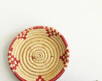 Vintage Straw Woven Basket | Boho Decor | Bohemian | Red Accent