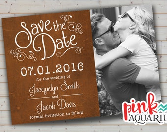 Save the Date Card - Rustic Curly (digital printable file)