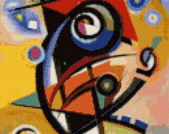 Kandinsky Abstract painting Cross Stitch Pattern - PDF Instant Download