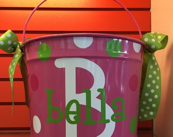 Personalized Girl's Pink Bucket- Monogrammed Bucket- 10 Quart Bucket- Easter Bucket- Personalized Children's Gift- Pink Bucket- Pail