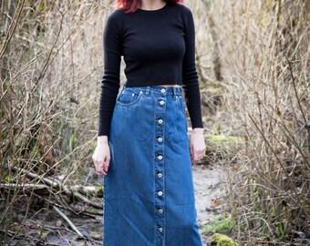 VINTAGE 1990's women's Denim Maxi Skirt