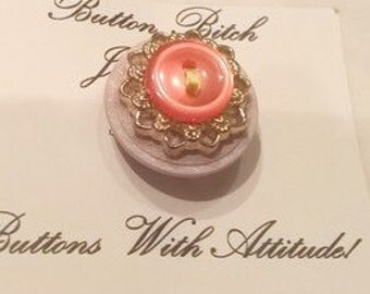 Vintage Lilac, Pink & Gold Button Brooch