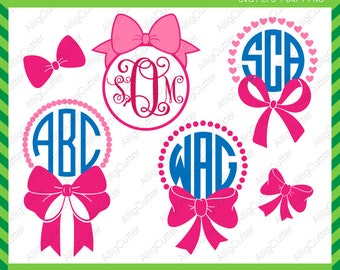 Bows with Dots Hearts Monogram frame SVG DXF PNG eps Cut Files for Cricut Design, Silhouette studio, Sure Cuts A Lot, Makes the Cut and more