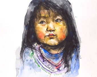 Girl painting original watercolor art