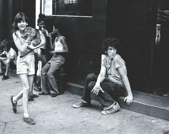 Lower East Side, New York.  Amy & Jean on Avenue A and 10th Street.  An Original Art Card.