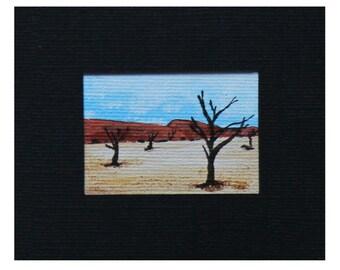 Miniature Namib Desert Painting - Original Miniature Art - Original Desert Painting - Dolls House Miniature Painting