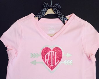 Monogrammed heart top is perfect for your little princess.