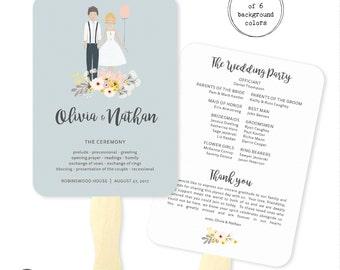 PRINTABLE Wedding Program Custom Illustrated Couple | Printable Wedding Program Fan | Wedding Program Download | Custom Wedding Program Fan