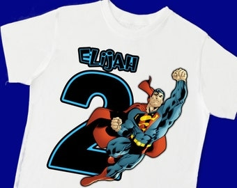 Superman Birthday Tee. Super Hero Birthday T-Shirt. Personalized with Name Age or Number (15076)