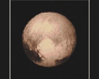 Pluto Cross Stitch Pattern PDF - Planet Solar System