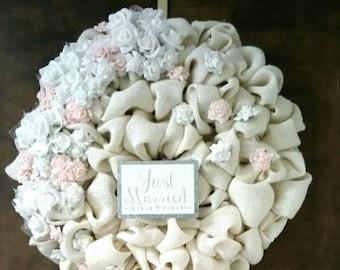 Burlap Wreath, Ivory Wreath, Just Married Wreath, Wedding Decor, Shower Decor, Door Decor, New Couple Gift, Flower Wreath // Ready to Ship
