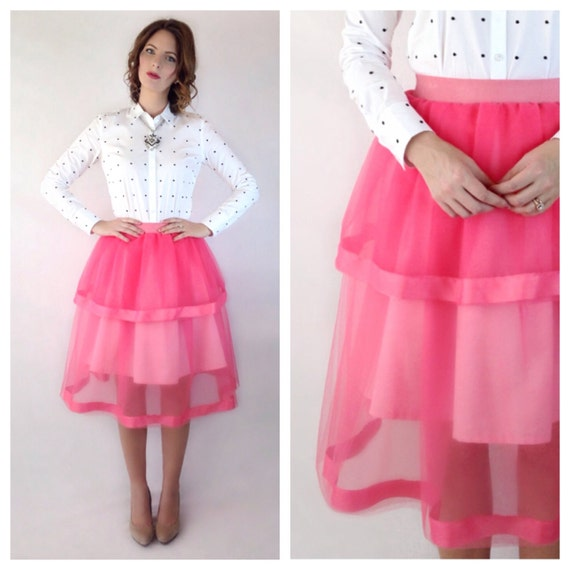 s pink tulle skirt with ribbon trim tiers by skirteffect