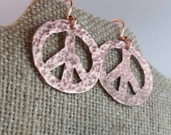 Peace Sign, Peace Sign Jewelry, Peace Sign Earrings, Copper Jewelry, Copper Earrings, Metalwork Jewelry, Metalwork Earrings, Gift for Her
