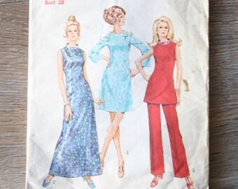 70s Simplicity Pattern 9003, 70s maxi dress pattern, 70s tunic & pants pattern, Size 16
