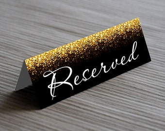 Kraft Gold Glitter  Reserved Sign, Wedding Table Sign, Instant download, code 0-24