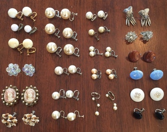 Lot of 23 pairs of Vintage clip on/screw back earrings