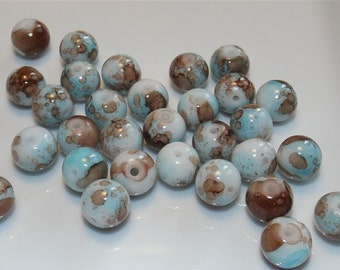 15 glass beads, round, brown, blue, 10mm