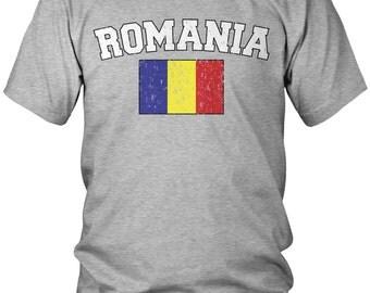 Distressed Romania Men's T-Shirt, Romanian Pride, Bucharest, Men's Romania Soccer Shirts AMD_ROM_02
